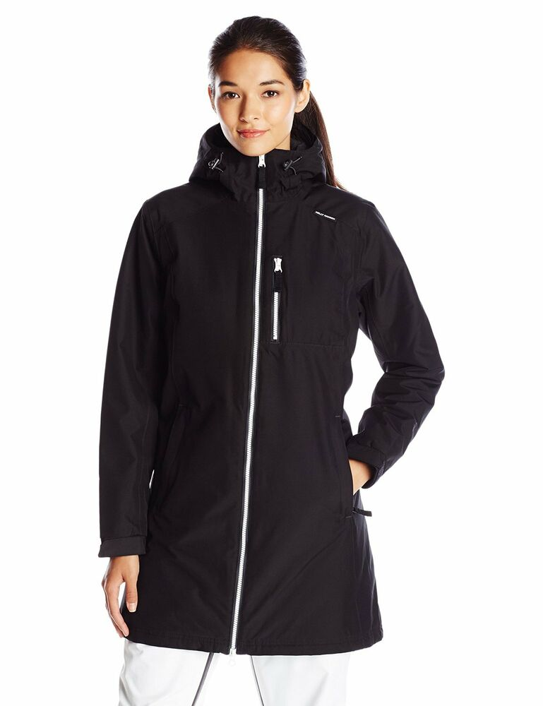 helly hansen womens belfast long insulated hooded jacket black ebay. Black Bedroom Furniture Sets. Home Design Ideas