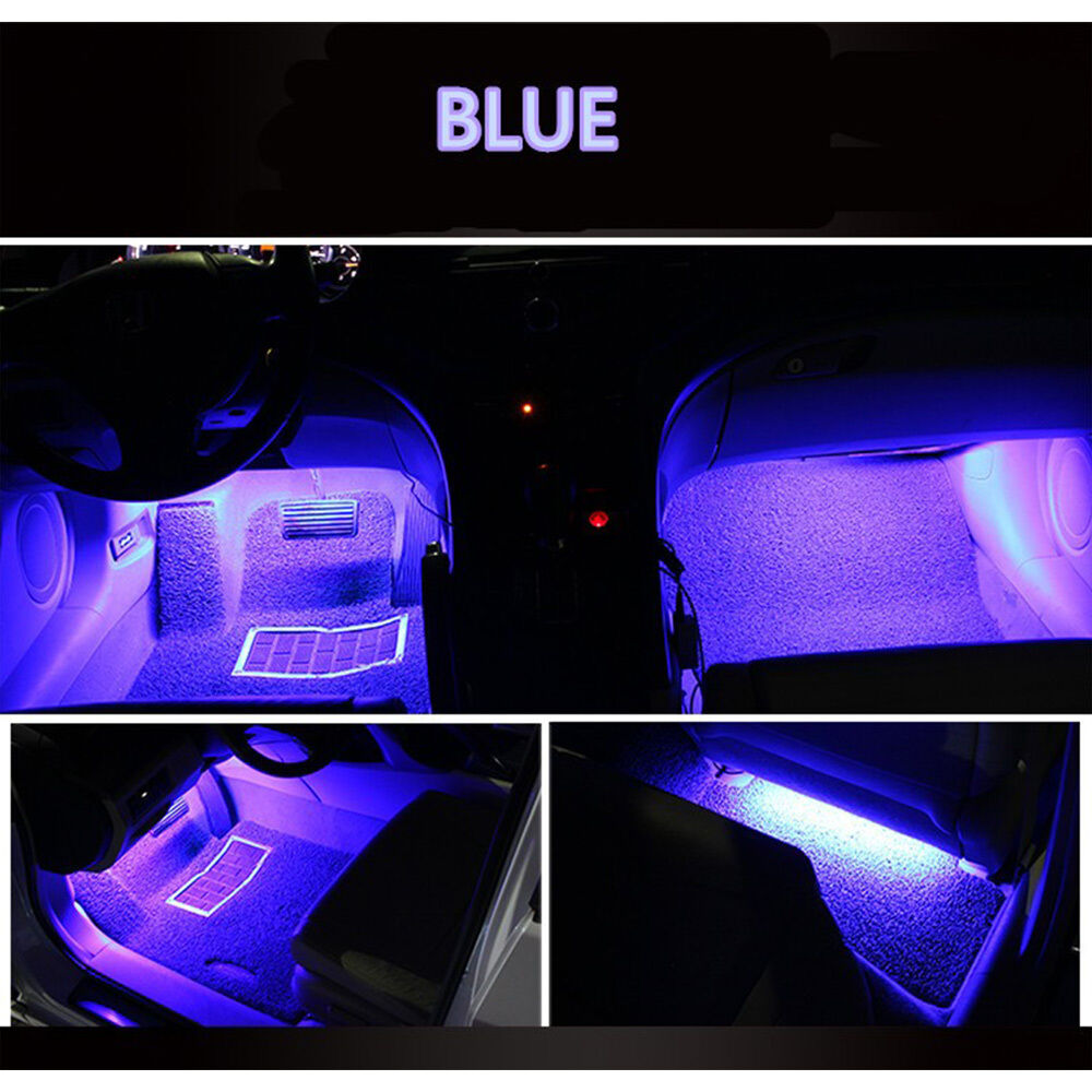 blue 4pc 9led car interior light atmosphere decorative lighting neon lamp strip ebay. Black Bedroom Furniture Sets. Home Design Ideas