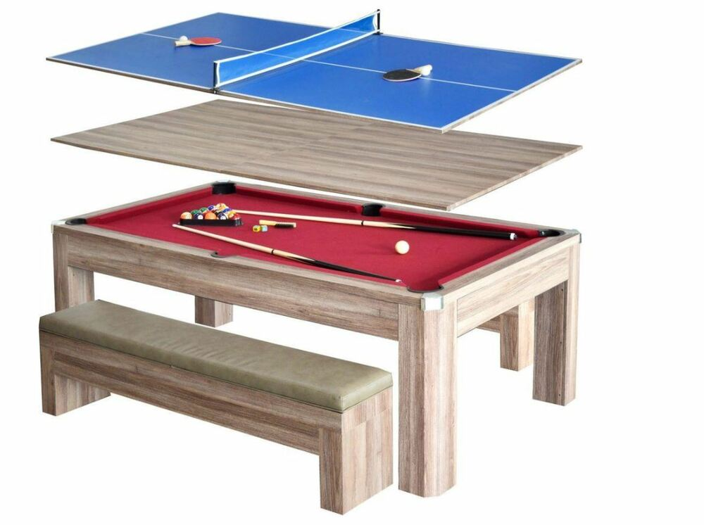Hathaway newport 7 ft pool table combo set benches table tennis dining ping pong ebay - Pool table table tennis ...