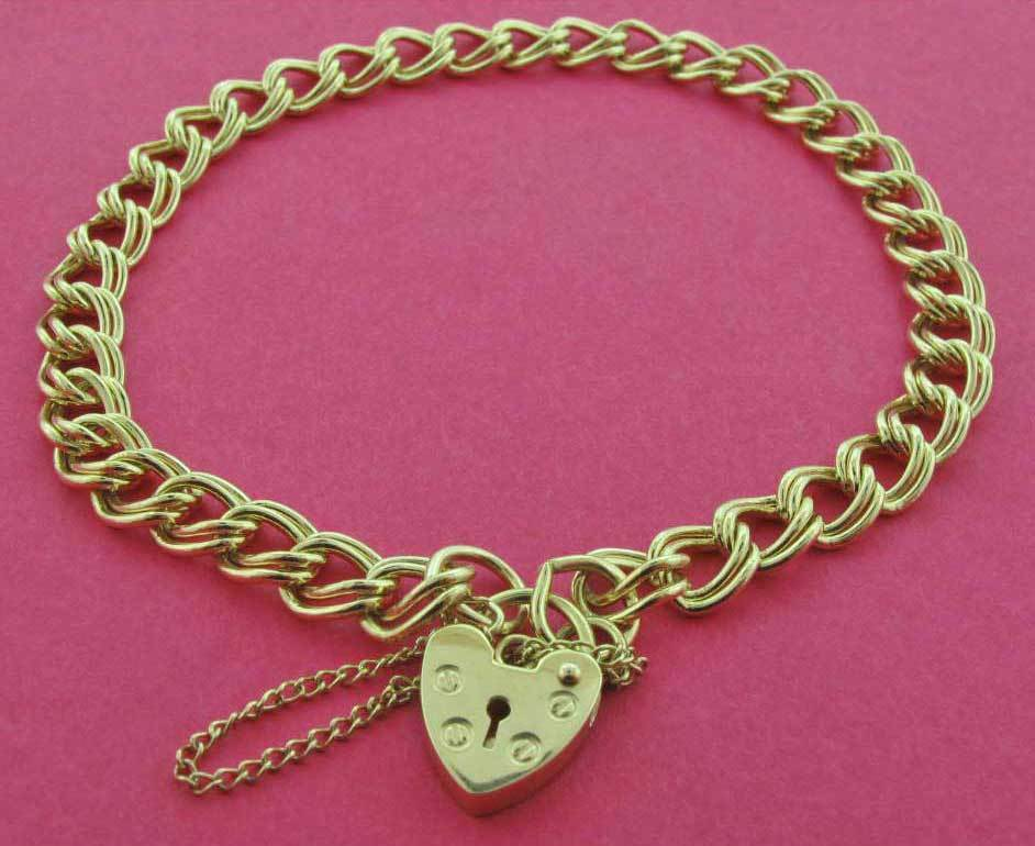 9CT GOLD SOLID HEAVY DOUBLE CURB LINK CHARM BRACELET HEART ...