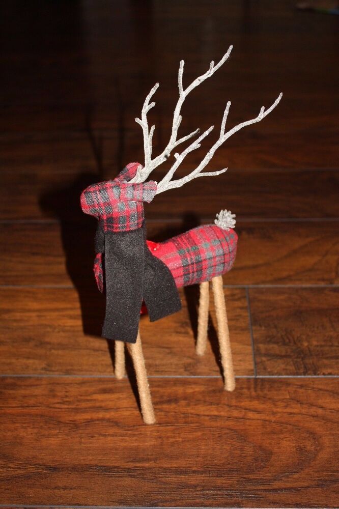 Pottery Barn Plaid Fabric Reindeer Ornament 1 Large New W