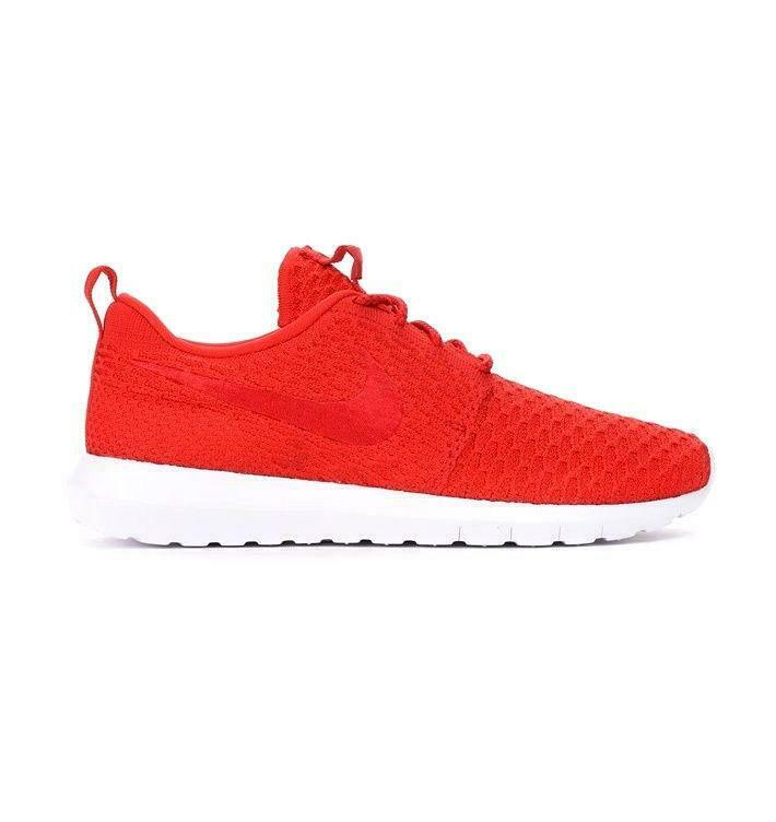 7cd7a2e1bee8 Mens NIKE ROSHE NM FLYKNIT University Red Textile Trainers 677243 603