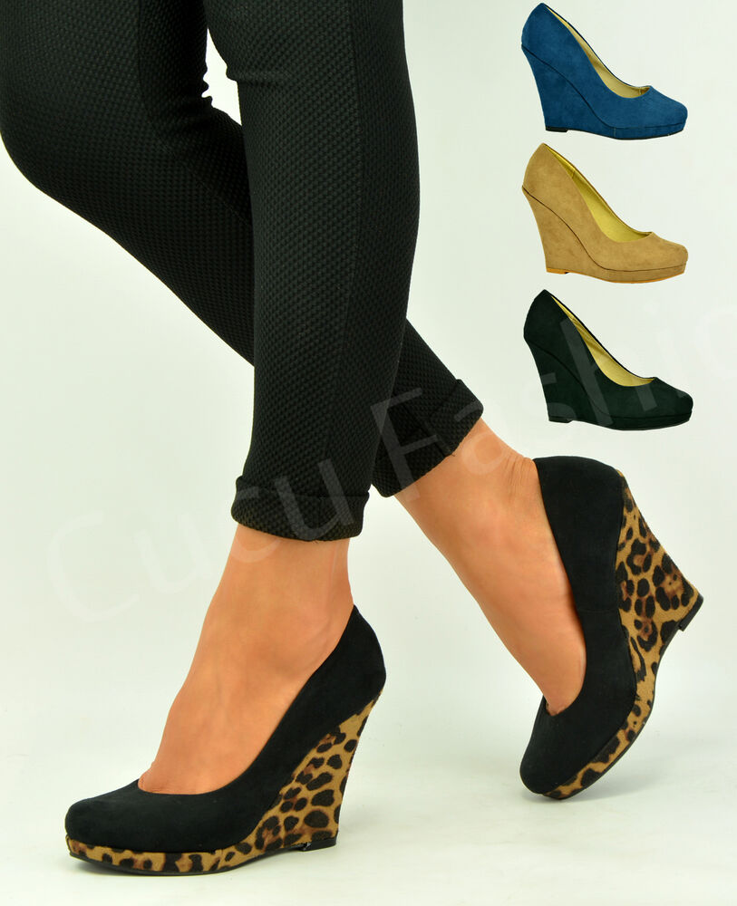New Womens Wedge Heel Pumps Ladies Pull On Closed Toe