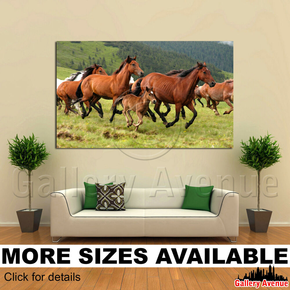 Wall Art Canvas Picture Print - Wild Horses Running in ...