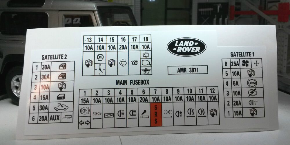 Land rover discovery tdi decal label amr fuse box