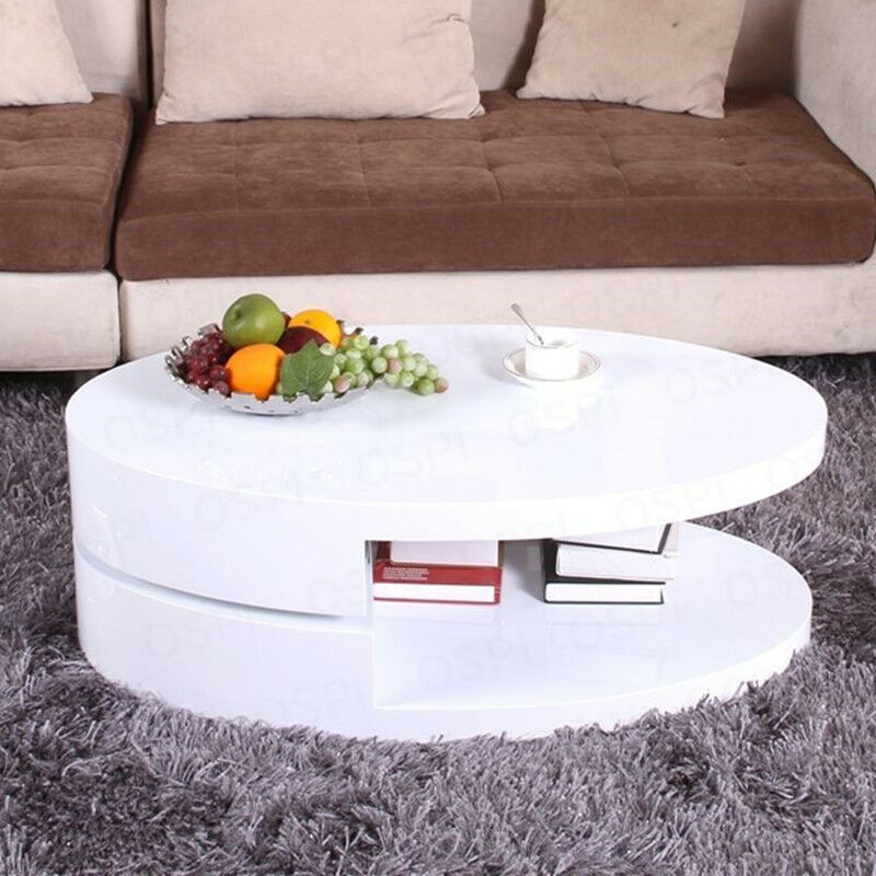 360 Rotatable Top Turnplate High Gloss White Coffee Table Livingroom Storage Ebay