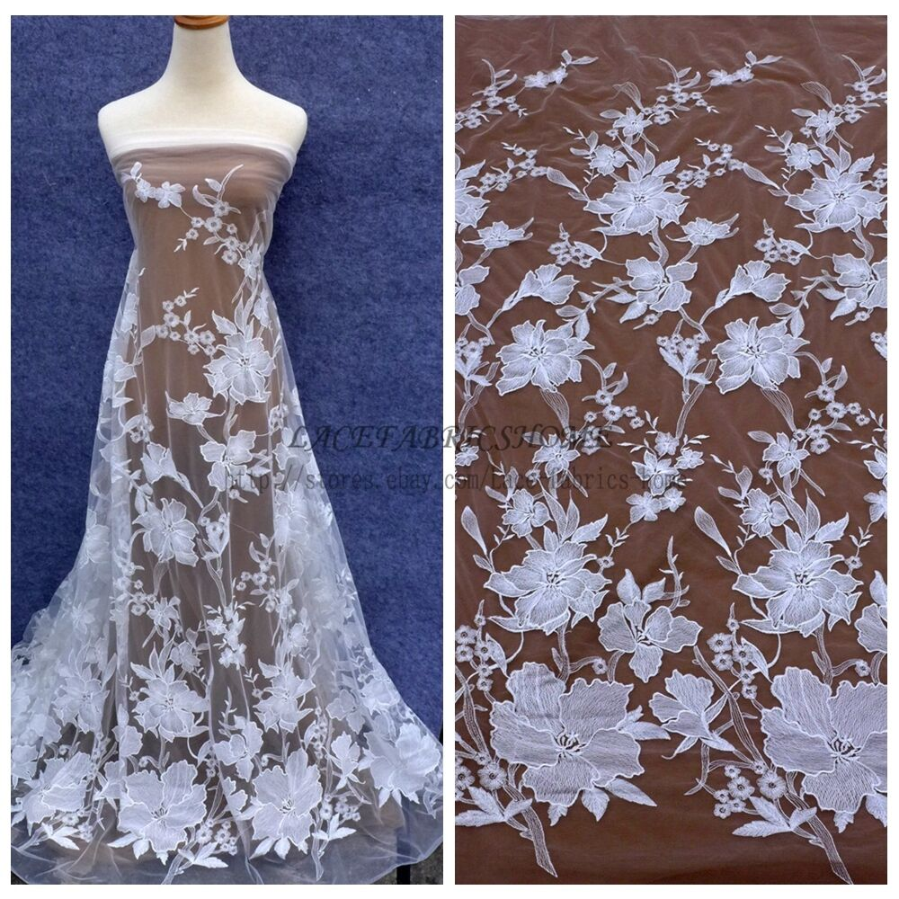 Wedding Gown Fabrics Guide: Off White Large Flowers Wedding Dress Lace Fabric 51