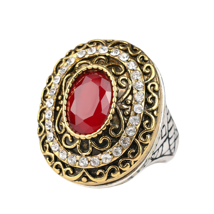 Vintage French Style Romantic Rustic Gold Plated Women 39 S Cz Resin Fashion Rings Ebay