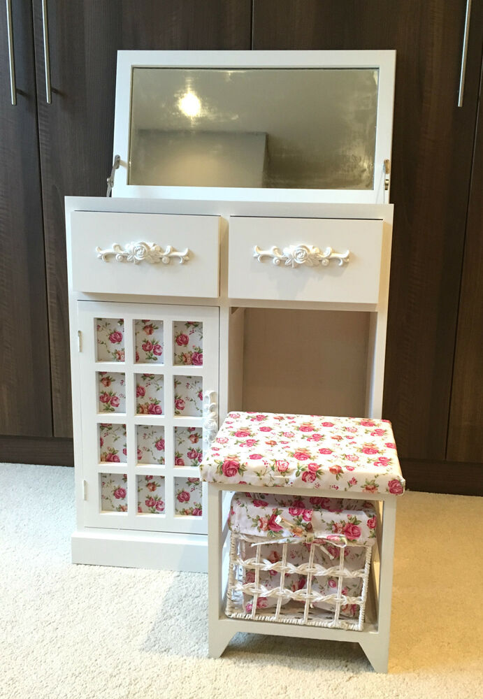 White Vanity Dressing Table Desk Girls Bedroom Cupboard Drawers Shabby Chic