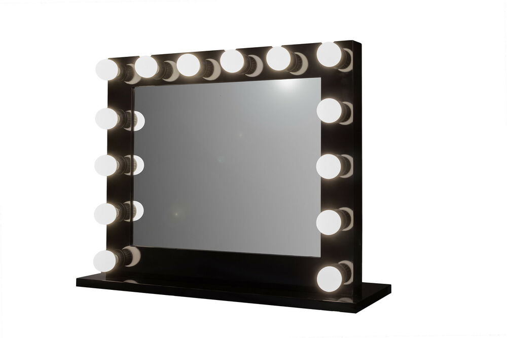Grand Hollywood Lighted Vanity Mirror w/ LED Bulbs & Double Outlet eBay