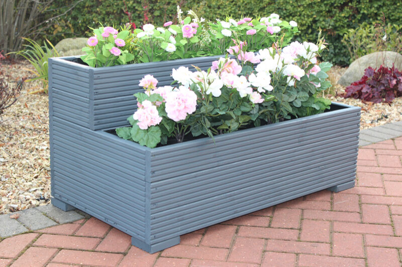 Large Wooden Garden Step Planter Trough Two Tier Veg Bed