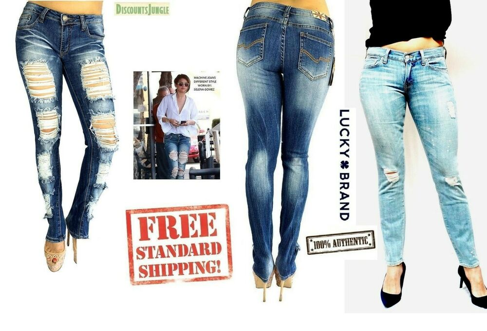 f71353bf4fc Details about Machine Jeans Jack David Womens Juniors PLUS SIZE Ripped  Distressed Denim pants