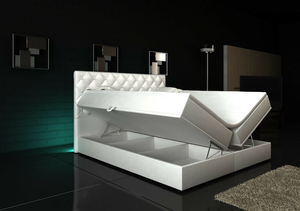 boxspringbett 180x200 wei bettkasten hotelbett bett topper led rgb neu 140 160 ebay. Black Bedroom Furniture Sets. Home Design Ideas