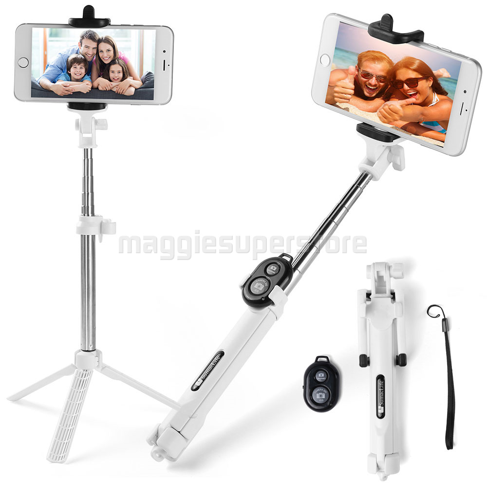 extendable selfie stick bluetooth remote shutter with tripod for iphone 7 plus ebay. Black Bedroom Furniture Sets. Home Design Ideas