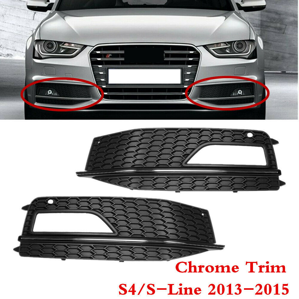 pair front bumper lower fog light grill grille for audi a4. Black Bedroom Furniture Sets. Home Design Ideas