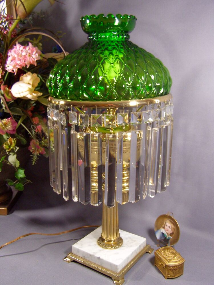 Vintage Brass Table Lamp With Green Glass Shade And Long