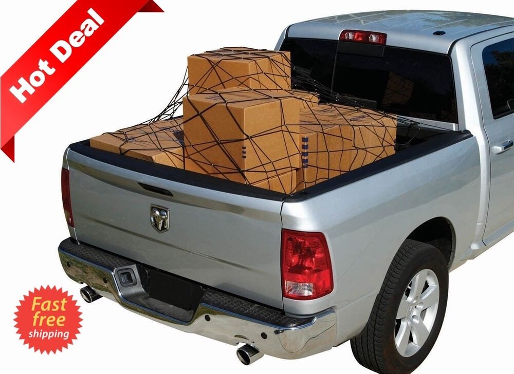 truck cargo net full size bed ford raptor f150 f250 f350 pick up tie down hooks ebay. Black Bedroom Furniture Sets. Home Design Ideas