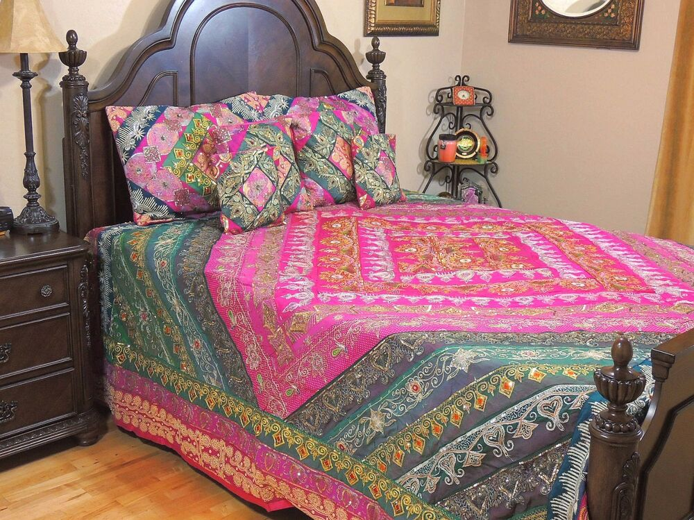 Magenta Bollywood Beaded Indian Bedding Sari Quilted