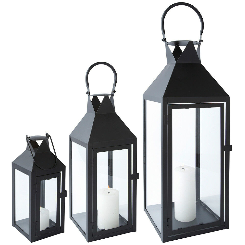 laterne metall schwarz glas mit t r metall windlicht gartenlaterne kerzenhalter ebay. Black Bedroom Furniture Sets. Home Design Ideas