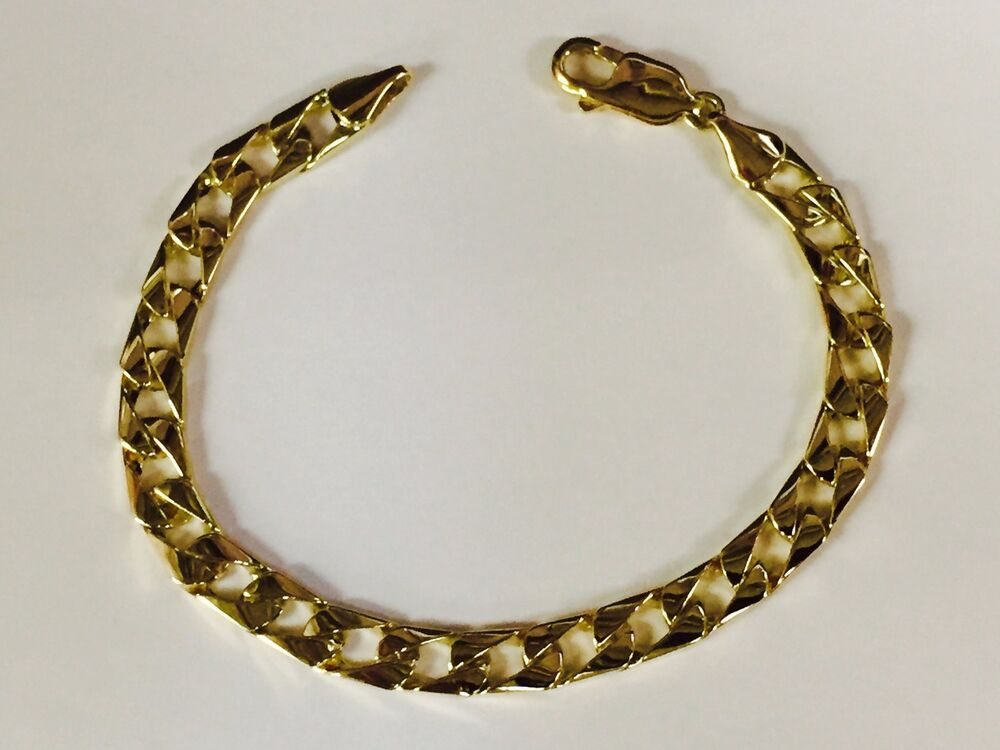 10kt Solid Yellow Gold Handmade Curb Link Mens Chain