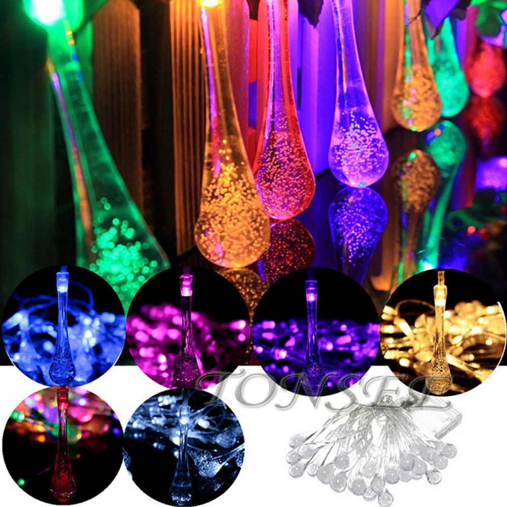 Led Outdoor Party String Lights: 17M100LED Battery/Solar Water Drop Fairy String Light