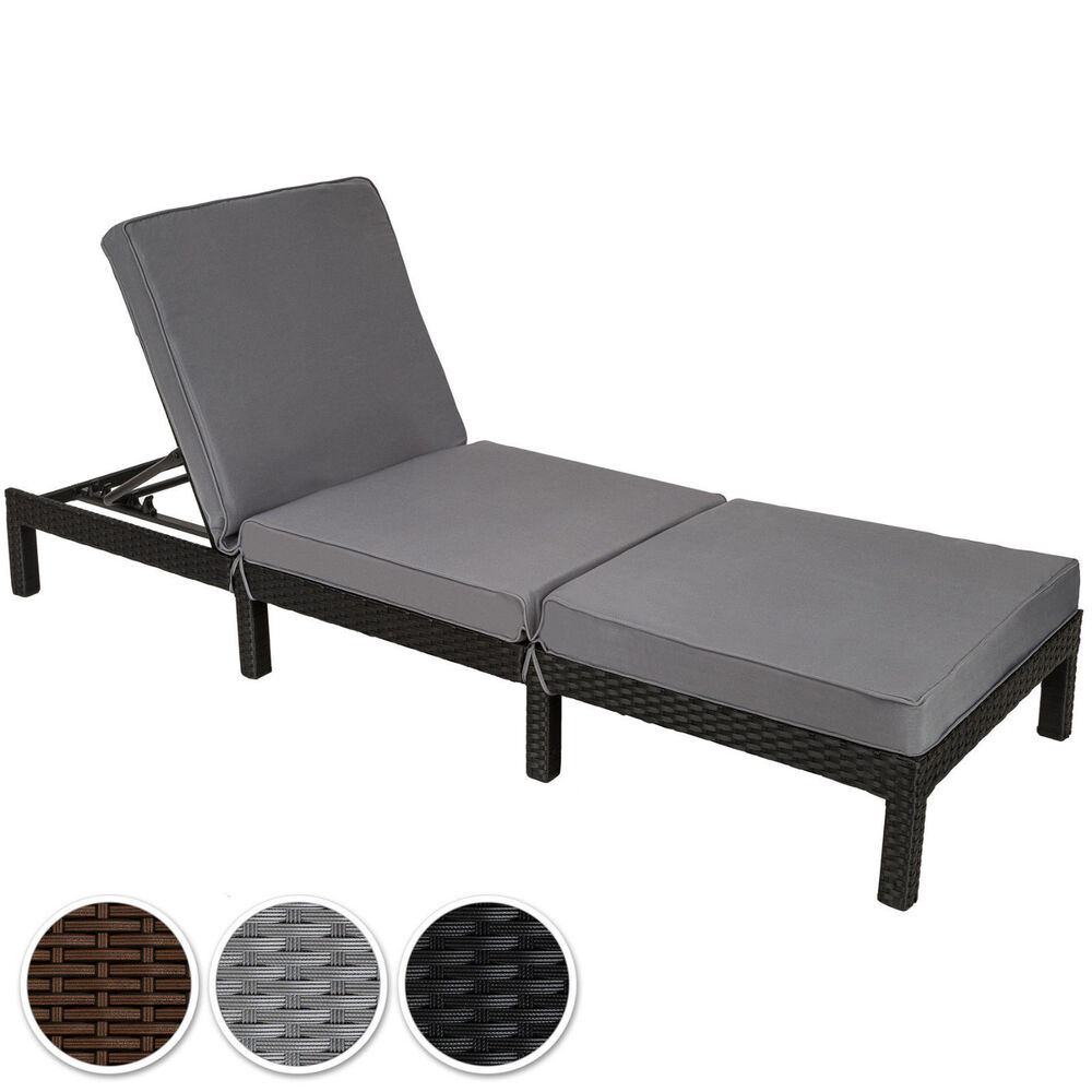Rattan day bed chair sun lounger recliner garden furniture for Chaise longue double exterieur