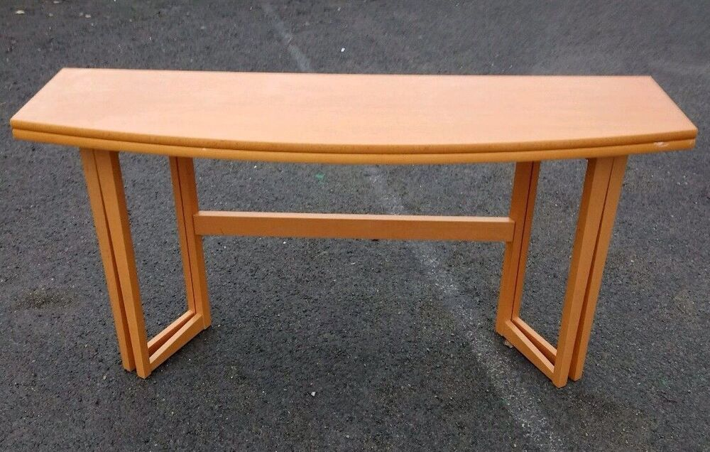 Folding dining table space saving compact beech console for Table console retractable