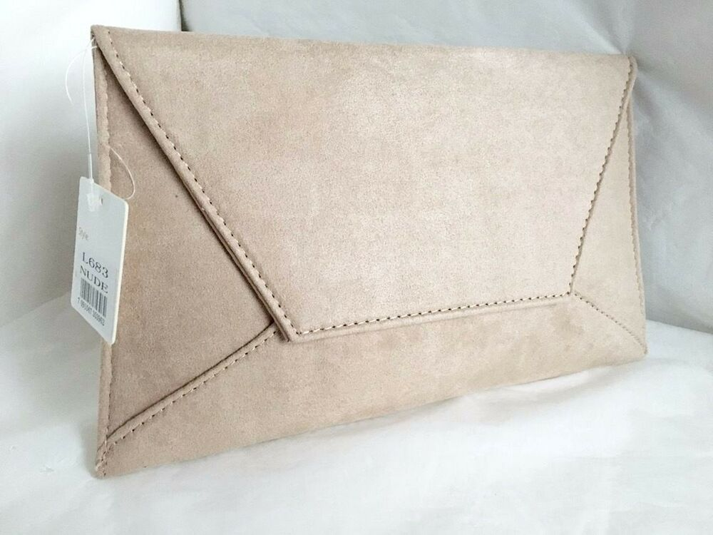 New Faux Suede Beige Nude Day Evening Clutch Bag Wedding