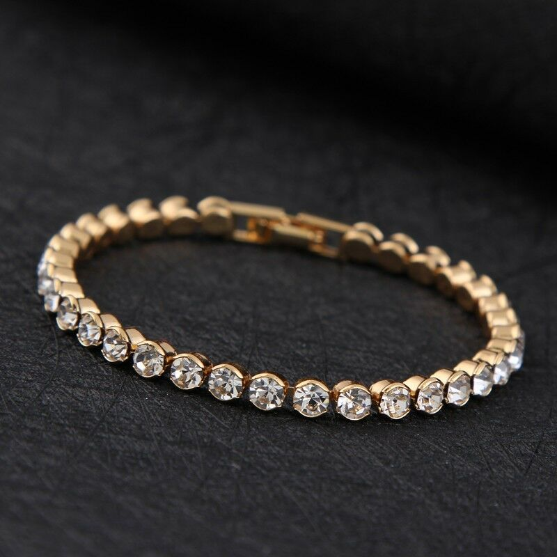 14k gold plated made with swarovski crystals tennis bracelet mothers day gift ebay. Black Bedroom Furniture Sets. Home Design Ideas
