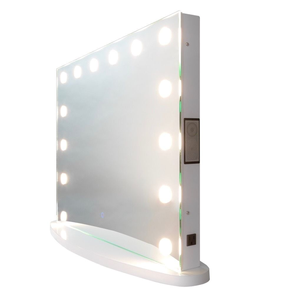 Vanity Mirror With Lights And Outlets : Bluetooth Audio Hollywood Impulse LED Vanity Mirror w/ Touch Dimming & Outlet eBay