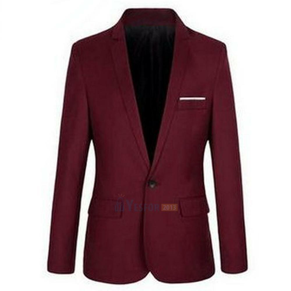 Men's Men Casual Slim Fit Formal One Button Suit Blazer ...