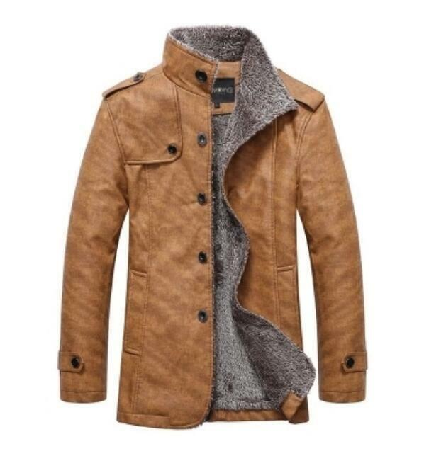 Men's Suede Leather Winter Fur Lined Motorcycle Thick