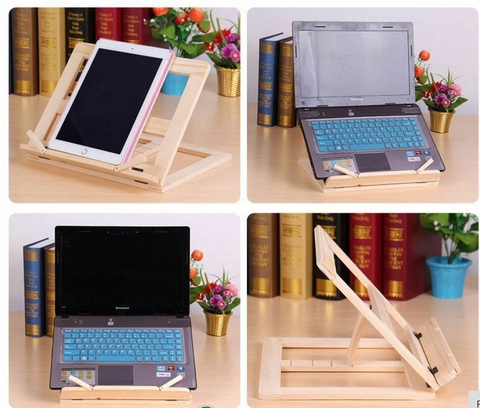 portable folding wooden book ipad music recipe laptop stand holder ebay. Black Bedroom Furniture Sets. Home Design Ideas