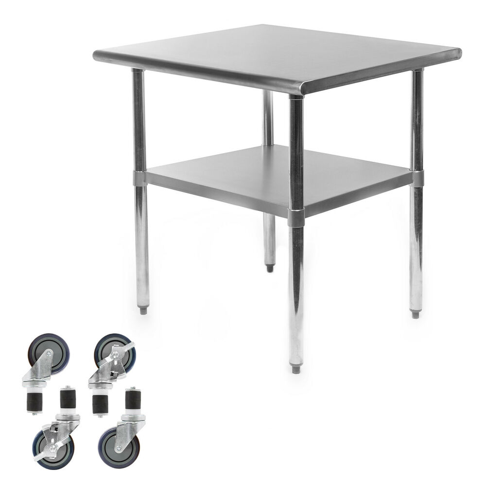 Kitchen work table on wheels gridmann stainless steel commercial kitchen prep work - Commercial kitchen tables on wheels ...