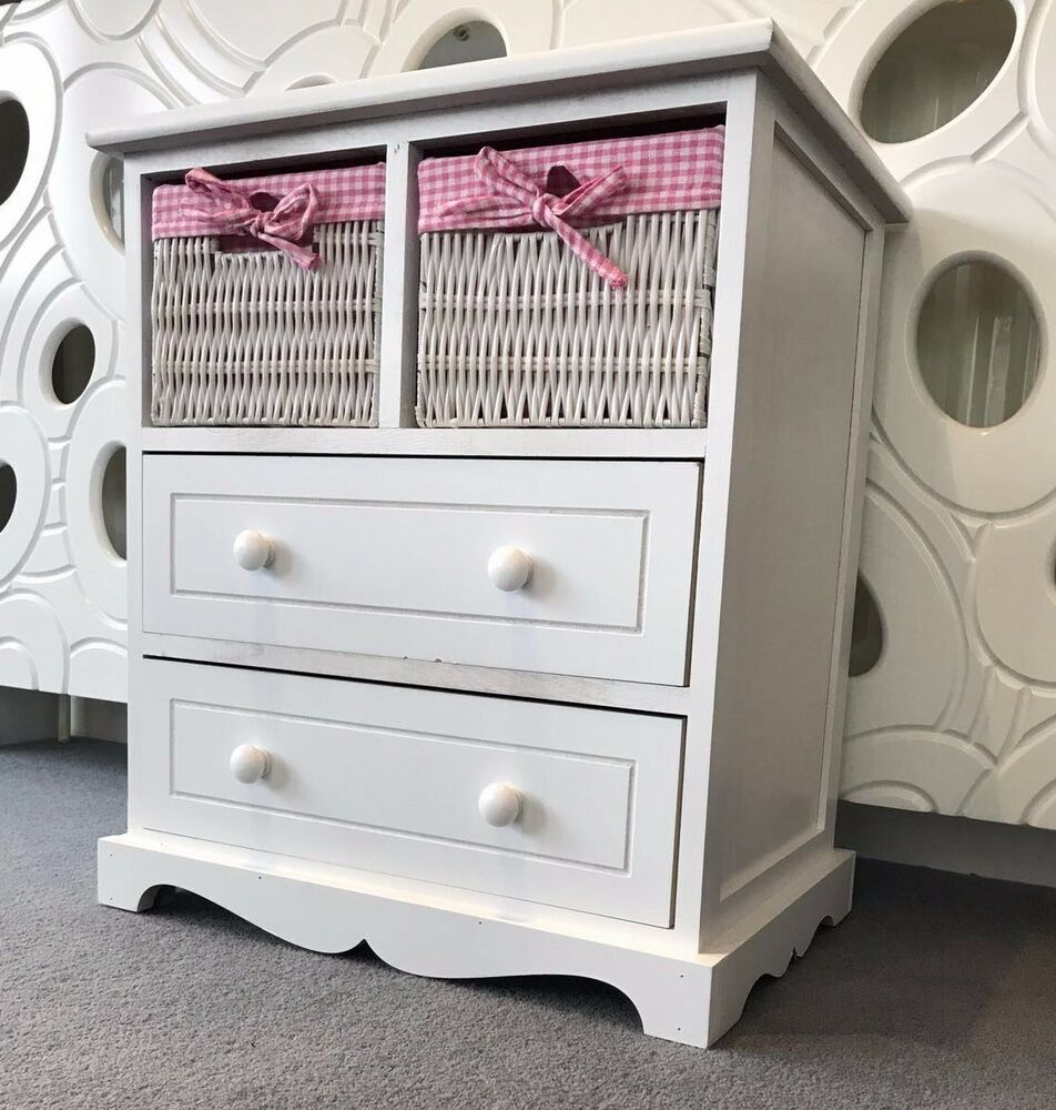 White Chest Drawers Storage Unit Wicker Baskets Pink Girls