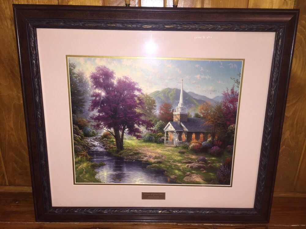 Home interiors thomas kinkade streams of living water library edition print ebay for Home interiors thomas kinkade prints