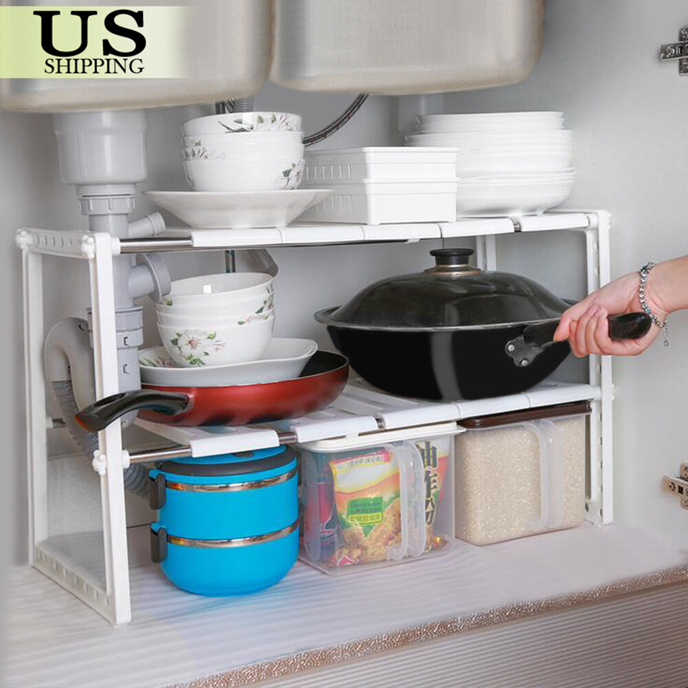 adjustable under sink cabinet storage counter shelf kitchen organizer bathroom ebay. Black Bedroom Furniture Sets. Home Design Ideas