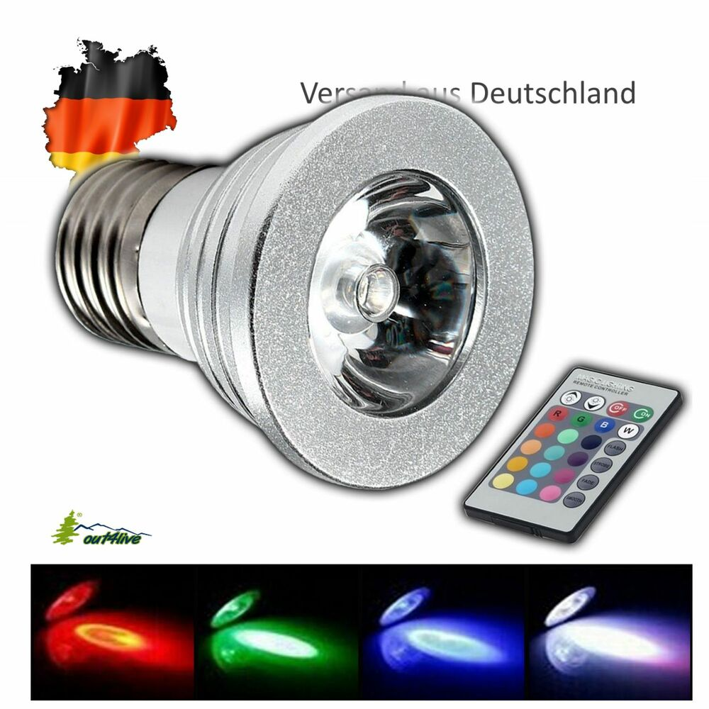 led rgb lampen leuchtmittel farbwechsel mit fernbedienung mr16 gu10 e14 e27 ebay. Black Bedroom Furniture Sets. Home Design Ideas