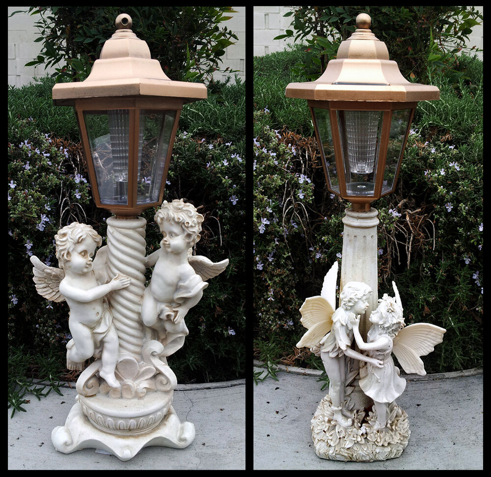 2 Outdoor Garden Decor Solar Fairy Angel Cherub Statue Sculpture Led Lights Ebay