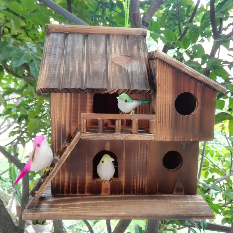 Decorative Bird House Theme And Kids Rooms Ideas: House Garden Wood Hanging Outdoor Bird Home Nest Birdhouse