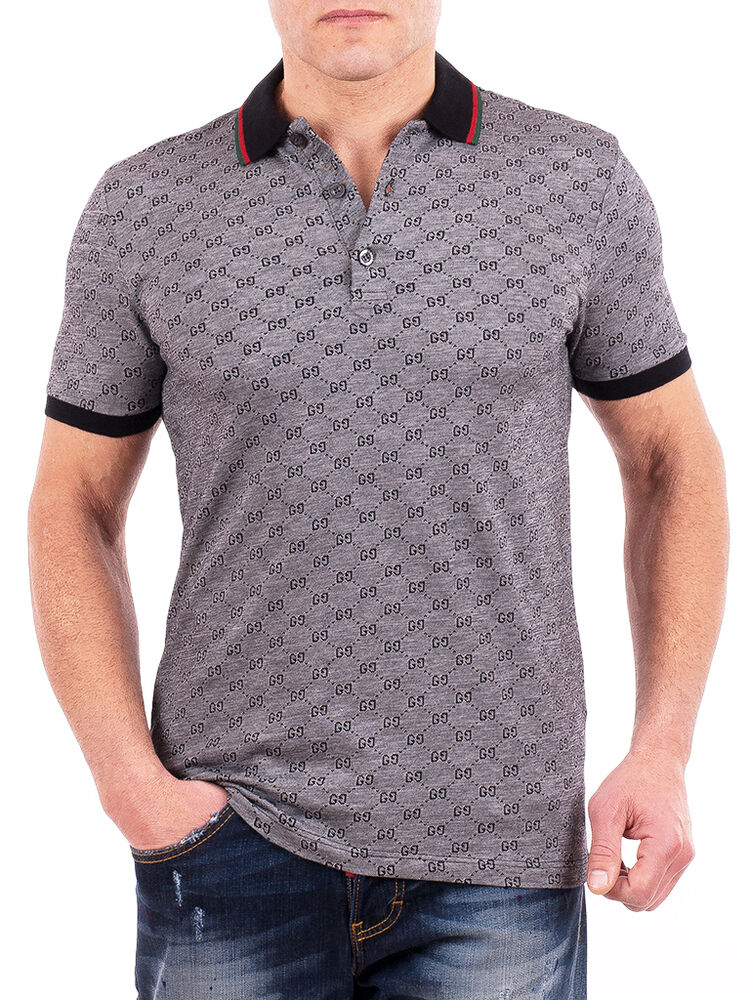 Gucci polo shirt mens gray short sleeve polo t shirt gg for Mens collared t shirts
