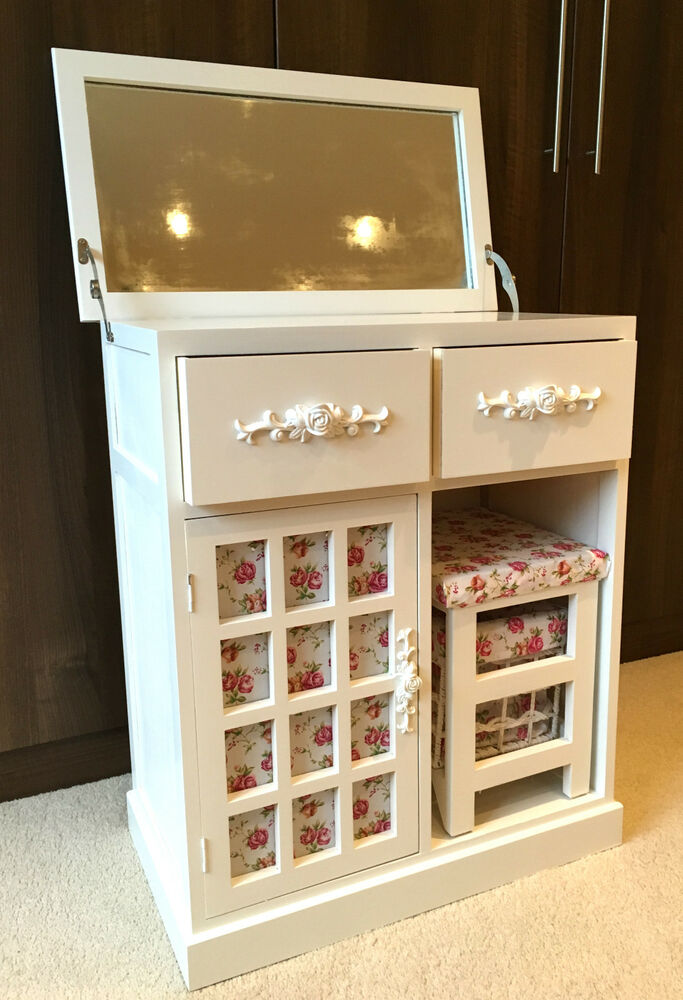 White Dressing Table Makeup Vanity Desk Floral Bedroom