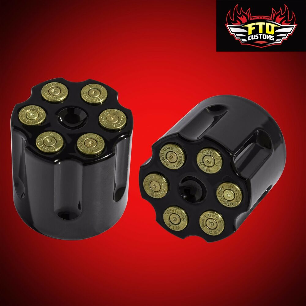Revolver Bullet Black Axle Covers For 2008 2017 Harley