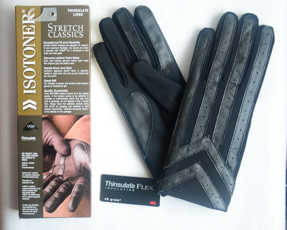 Mens gloves isotoner - Isotoner Men 039 S Classic Thinsulate Lined Stretch Winter Gloves Black Size M L Ebay