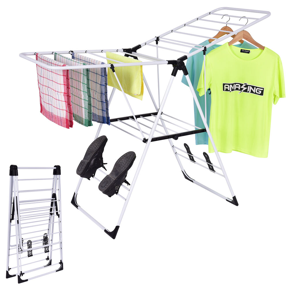 Adjustable Winged Clothes Airer Horses Indoor Laundry Rack
