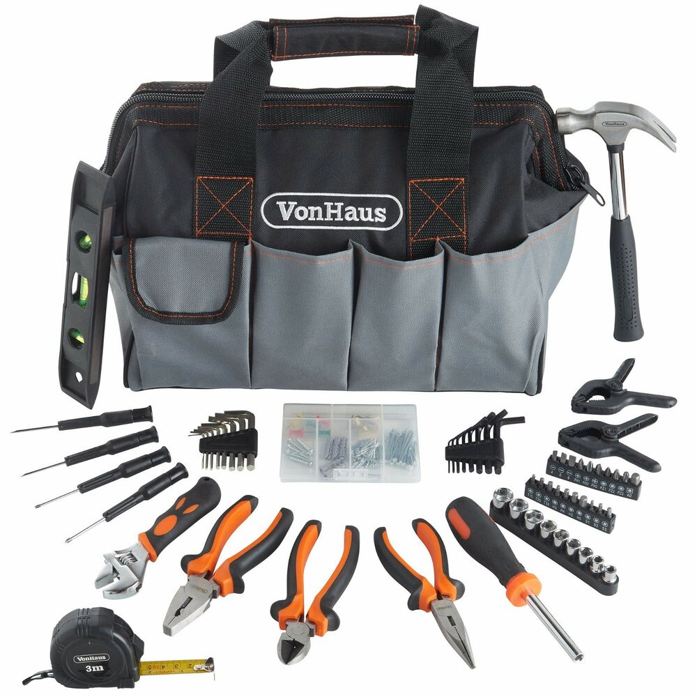 Vonhaus 92pc diy household hand tool kit set with tool organiser storage bag ebay - Household tools ...