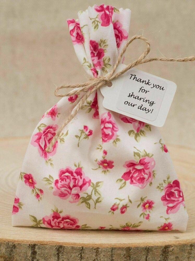 Shabby Chic Vintage Pink Tea Rose Floral Wedding Favour Bags ...