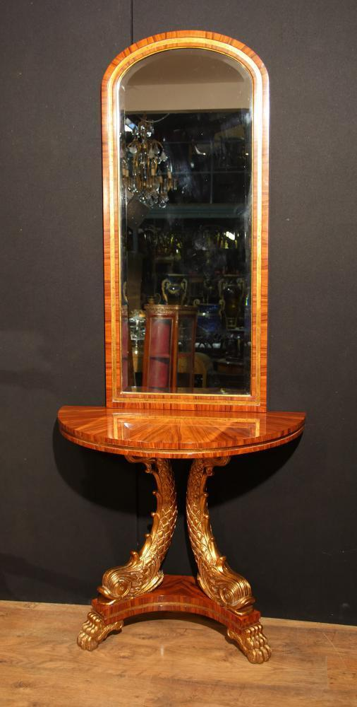 French empire console table and mirror set gilt serpents for Foyer console table and mirror set