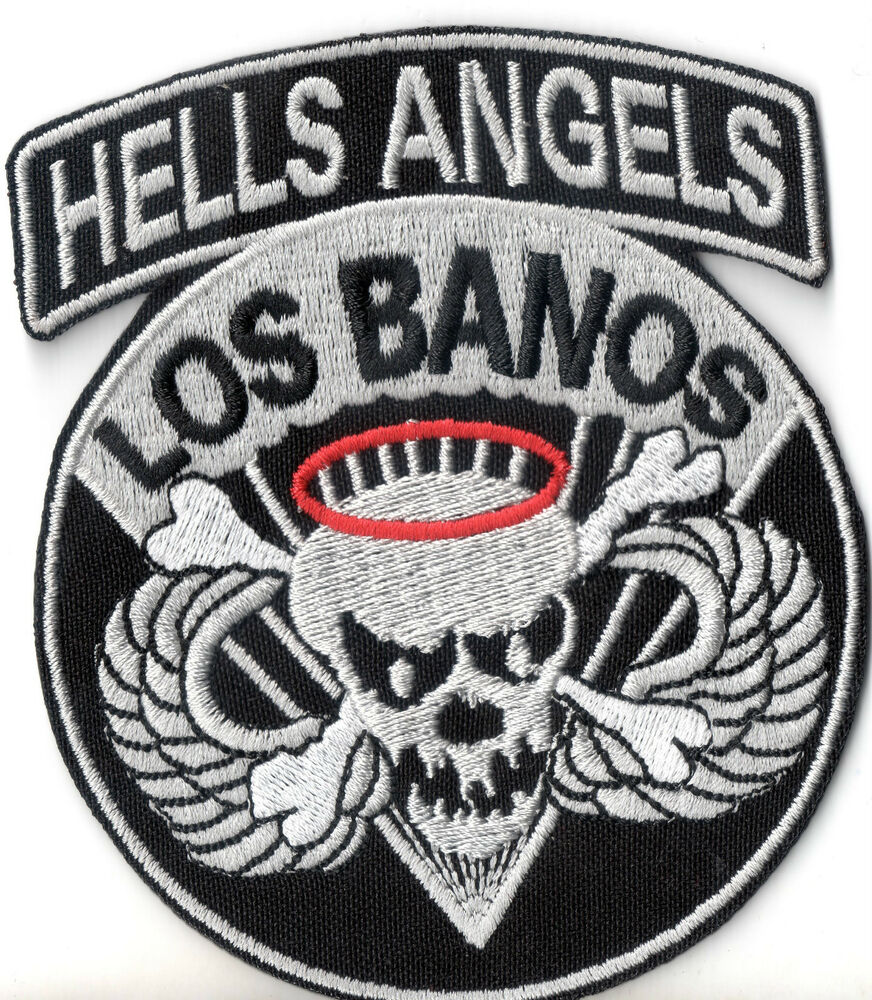 hells angels patch los banos 10x8 5cm military biker kutte. Black Bedroom Furniture Sets. Home Design Ideas