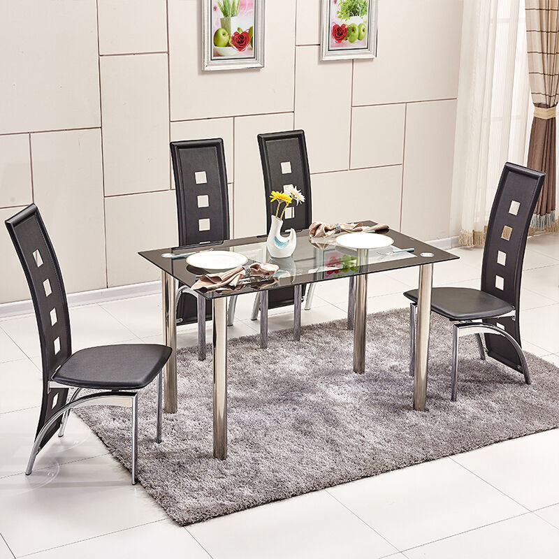 Dining Room Tempered Glass Dining Table High Back Faux Leather Dining Chairs